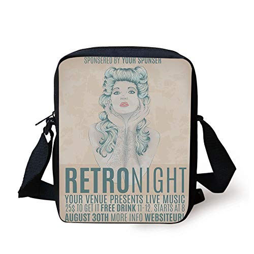 Indie,Retro Night Theme Poster Design Attractive Woman with Old Fashioned Hair Style Decorative,Tan Slate Blue Print Kids Crossbody Messenger Bag Purse -