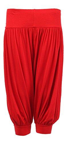 Fast Fashion Damen Haremshose Plus Size Plain 3/4 Viertel Länge (40/42, Pink)