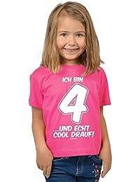 Mädchen 4 Jahre alt T-Shirt Kleinkinder Kinder - Geschenk Idee Kindergeburtstag Shirt Kindershirt Ich bin 4 …und echt cool drauf! 4 Geburtstagsgeschenk Kind lieber Spruch bedruckt in pink : )