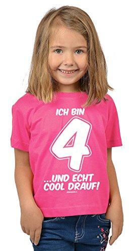 5. Geburtstag-kleinkind-t-shirt (Mädchen 4 Jahre alt T-Shirt Kleinkinder Kinder - Geschenk Idee Kindergeburtstag Shirt Kindershirt Ich bin 4 …und echt cool drauf! 4 Geburtstagsgeschenk Kind lieber Spruch bedruckt in pink XS : ))