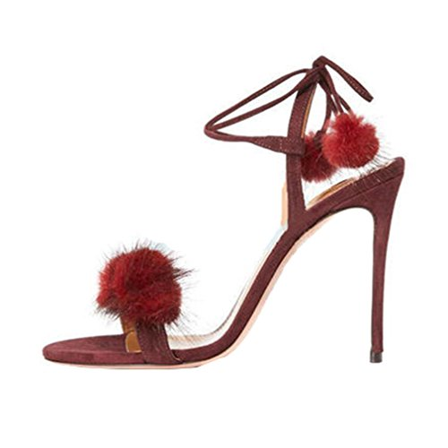 ENMAYER Frauen Cross Straps High Heels Lace-up Peep Toe Solid Casual Party Schuhe für Frauen Stiletto Sommer Schuhe Sandalen Weinrot 976lgxp07