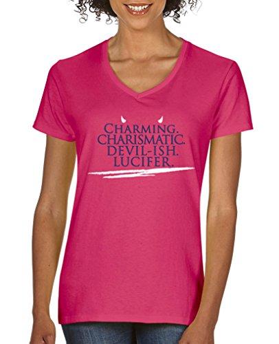 Comedy Shirts - Charming charismatic devil-ish Lucifer - Damen V-Neck T-Shirt - Pink / Lila-Weiss Gr. XL - Devils Crewneck