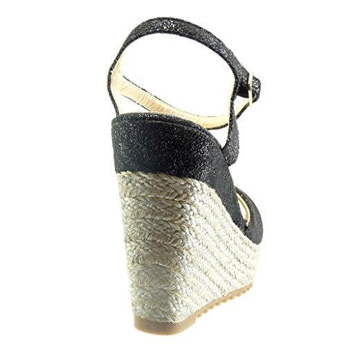 Angkorly Scarpe Moda sandali Espadrillas zeppe donna corda Tacco zeppa piattaforma 11.5 CM Nero