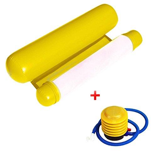 Wasser Hängematte Lounge Stuhl Luftmatratze Schwimmende Wasser Bett Matte Swim Aufblasbare Kopf für Erwachsene und Kinder 200 Kg (Yellow)
