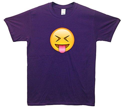 Tongue Out Face Emoji T-Shirt Lila