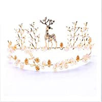BABIFIS Wedding Crown, Welding Deer Pearl Crown Bridal Hair Accessories Golden Animal Crown Headband Jewelry (12CM*35CM)