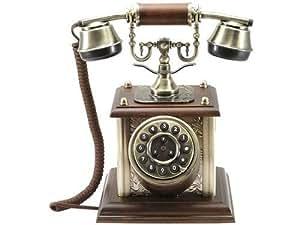 Téléphone ancien type 1900, réalisation artisanale, BOIS & LAITON