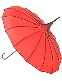 Topwedding ombrelle preuve de vent parasol pagode parapluie, rouge