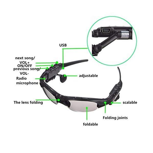Multifuncionales Móviles Digitales, Gafas De Sol De Los Vidrios De Bluetooth Bluetooth para Auriculares De Manos Libres… 5