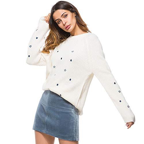 FWJ-clothes Frauen Rundhals Pullover Strickpullover Tops Mantel Damen Rundhals Sweatshirt Langarm Kausal bestickte Tunika Pullover Strickpullover,Weiß,M -