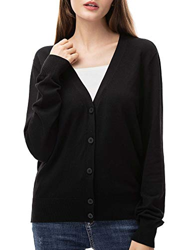 Woolen Bloom Chaqueta Punto Mujer Cardigan Negro Mujer