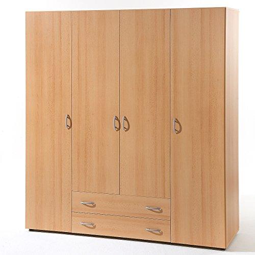 Kleiderschrank Base 4 Schlafzimmer Schrank 4-türig in Buche Dekor 160 cm breit