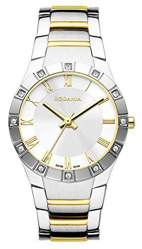Salina Rodania Swiss reloj infantil de cuarzo con para mujer plateado esfera analógica y dos correa de acero inoxidable de color plateado y dorado RS2503482