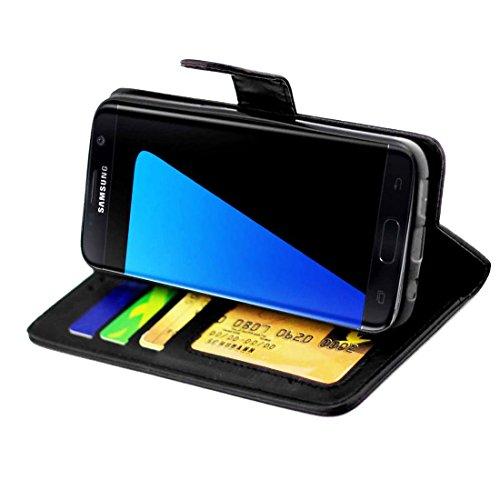 subtel® Smart Case für Samsung Galaxy S7 Edge (SM-G935F) Schutzhülle mit Standfunktion - Kunstleder, schwarz, Tasche, Flip Cover, Etui