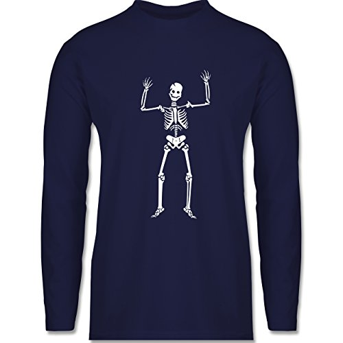 Halloween - Skelett Skeleton - Longsleeve / langärmeliges T-Shirt für Herren Navy Blau