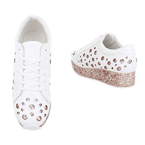 Ital-Design - Low-top Donna bianco rosa
