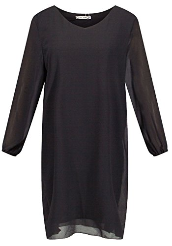 U-shot da donna Chiffon Cut Out Casual Ufficio Cocktail Party Slim Fit Dress Black
