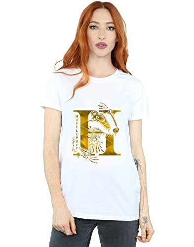 Absolute Cult Harry Potter Women's Hufflepuff Badger Boyfriend Fit T-Shirt