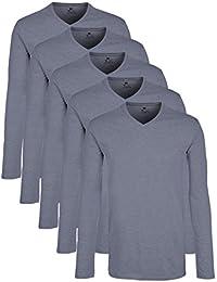 Lower East Camiseta de manga larga con cuello de pico, pack de 5