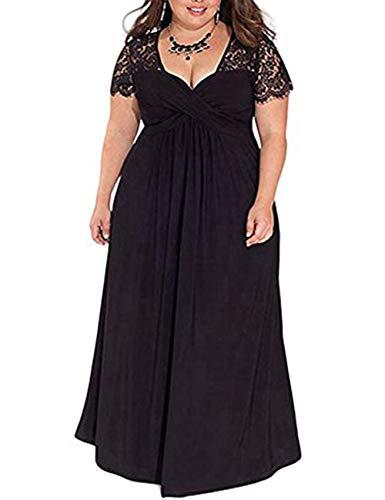 FeelinGirl Damen Plus Size Große Größen Elegantes Langes Spitzenkleid Cocktailkleid Abendkleid Hochzeit Brautkleid mit Kurz Ärmel O-Ausschnitt Blumensptizen