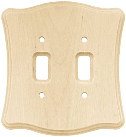 Franklin Brass 64631 Wood Scalloped Double Toggle Switch Wall Plate / Switch Plate / Cover,