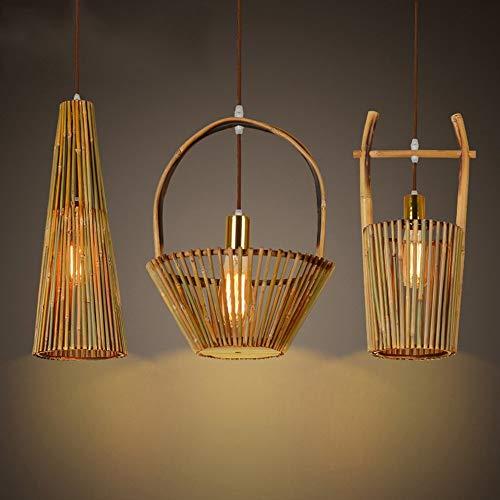 GBX Moda moderna Iluminación de techo Araña 1 Creativa Original Ecológica Hecha a mano Artes de bambú Araña Jardín Salón de té Comedor Restaurante Cafe Inn Lámparas de luz,segundo