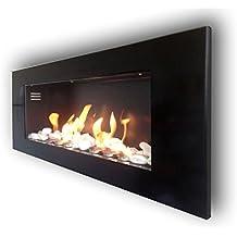 Etanol Chimenea Chimenea de gel chimenea chimenea de pared modelo MONACO XXL brillante + Gratis 24Piedras Decorativas