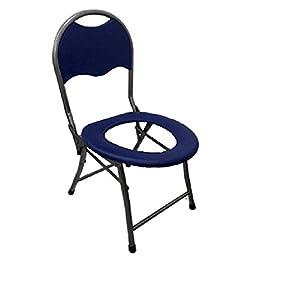 CPDZ Klappbarer Toilettenhocker Sitz mit Kommode älterer Toilettenstuhl Portable closesool Nachttisch Kommode für Senioren Behinderter Toilettenstuhl Medizinischer Toilettenstuhl blau