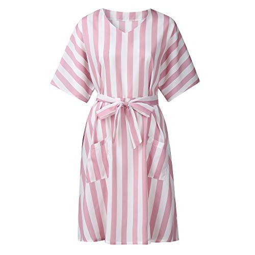 Markthym Frauen beiläufige gestreifte halbe Hülse V-Ansatz Taschen lösen Kleid Damen gestreiftes langärmliges Kleid - Patriotische Damen-lange Hülse