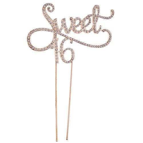 STOBOK Kuchen Topper Strass Sweet 16 Kuchendeckel Kuchendekoration für 16. Jahrestag Geburtstag Party Zubehör (Golden)