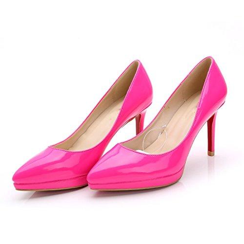 HooH Femmes Cuir Verni Pointu Stiletto Escarpins CL054 Rose Rouge