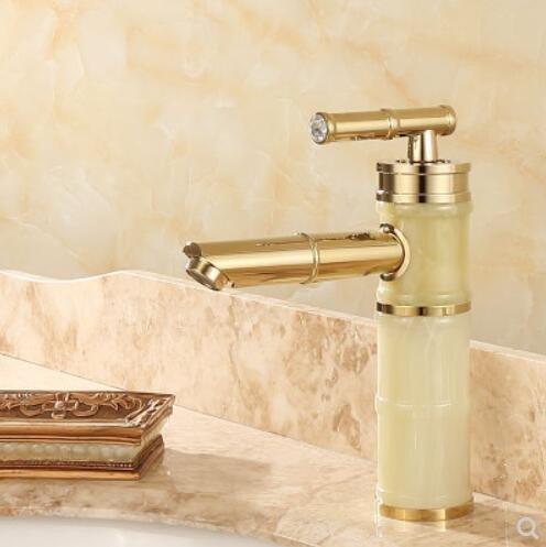Decorry Europäischen Stil Kupfer Natürliche Jade Waschbecken Mit Warmen Und Kaltem Wasser Aus Dem Wasserhahn Golden Slub Rotary Marmor Antik Tippen (Natürlichen Zündung)