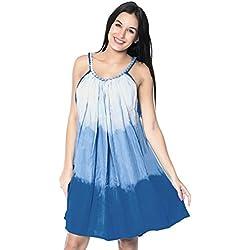 La Leela Tie Dye vestido de noche corto de tirantes ocasional traje de baño bikini playa de peso ligero rayón encubrir azul sin mangas