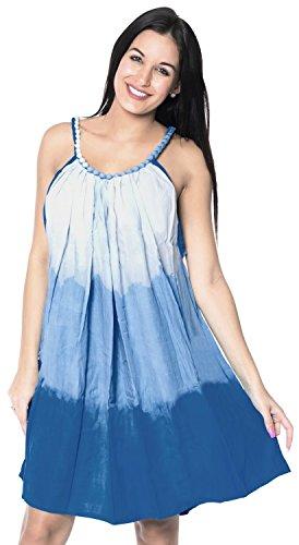 La Leela Tie Dye léger plage de rayonne maillots de bain bikini casual bretelles de soirée courte robe couvrir sans manches bleu
