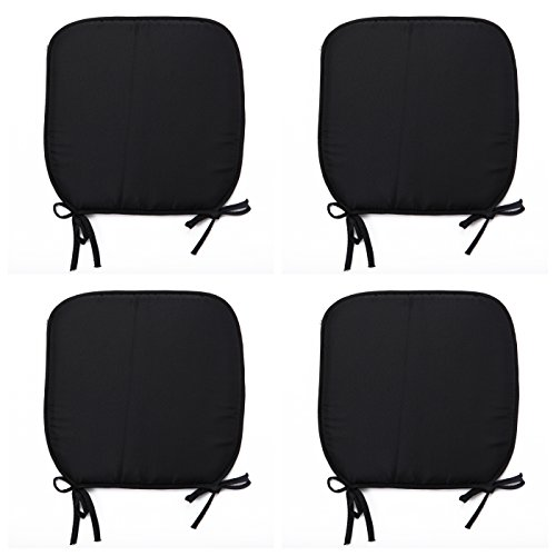Comfy Nights Padded Chair Seat Pads Cushion Simply Plain D-Shaped Tie-On Seat Pad Garden Patio Kitchen Dining 38cmx38cm (Set of 6, Black)