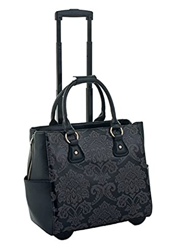 DEL MAR DAMASK ROLLING iPad TABLET OR LAPTOP TOTE TROLLEY HOLDALL BAG