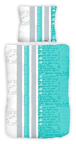 Bettwäsche Bettbezug Bettwäschegarnitur ANJA | 2-tlg | 135x200 cm | Polyester | Türkis | Schriftzug