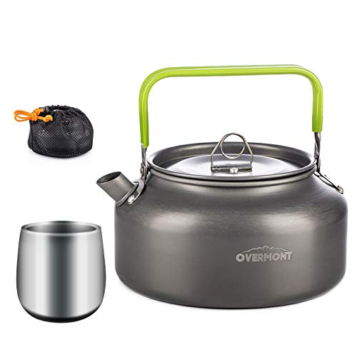 Overmont Camping Wasserkocher Kessel Teekanne Kaffeekanne mit Becher Aluminium für Picknick Outdoor Wandern 1,2I