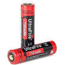 UltraFire 14500 Akkus Li-Ion Wiederaufladbare Batterien 750mAh 3.7V Akku Geschützt,UF145-75 (2 Stck)