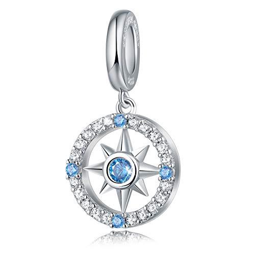 FOREVER QUEEN Damen Charm Anhänger Kompass 925 Sterling silber Charm Anhänger für Armband für Frauen und Mädchen mit Geschenk-Box
