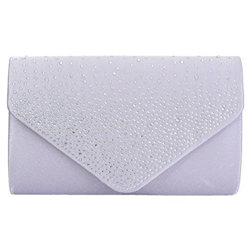 Diamante Trim Flapover Envelope Style Clutch Evening Bag With A Detachable Chain Strap (Silver)