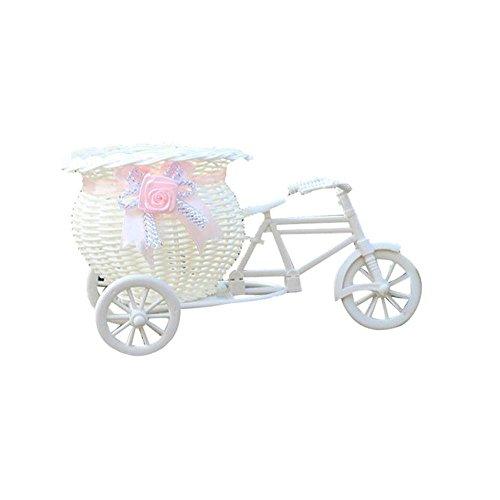 ftxj Lovely Große Rattan Dreirad Fahrrad Blume Korb Vase Aufbewahrung Home Decor, weiß, B (Party Dreirad Supplies)