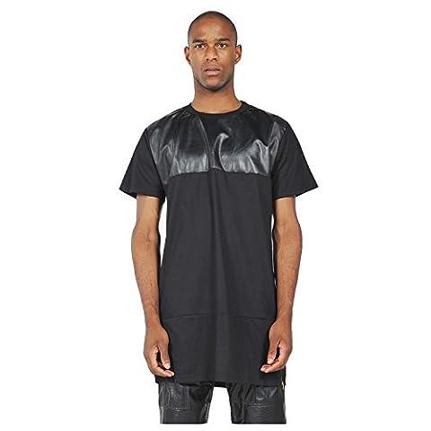 Pizoff T-shirt avec fermeture éclair latérale Hip Hop Unisexe - noir - Large
