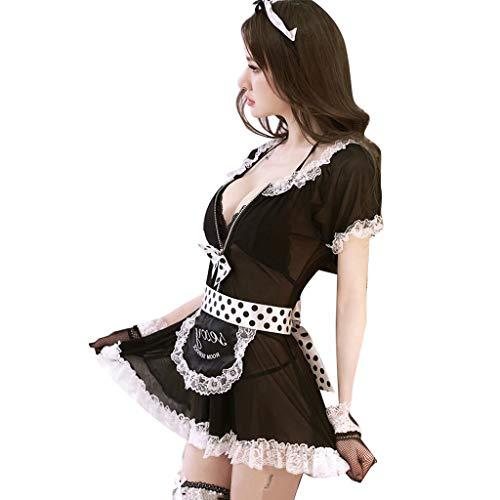 MSNDIAN Sexy Dessous Prostituierte Uniformen Sao sexy Dreipunkt ▎ Mitternacht Charme Dienstmädchen Krankenschwester Service ▎ Perspektive Verschleiß Leidenschaft Set Sexy Unterwäsche Leidenschaft ()