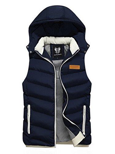 Feoya Herren Weste Steppweste Daunenweste Jungen Ärmellose Jacke Jacket mit Abnehmbarer Kapuze - Dunkelblau Größe XL