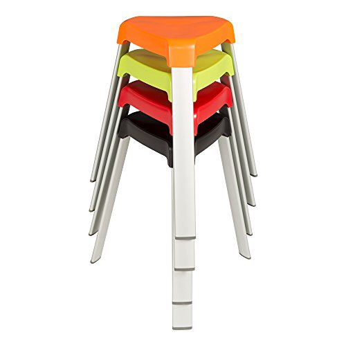 Superb Norwood Commercial Furniture Nor Oah1000Ac So 3 Leg Plastic Stack Stools With Aluminium Legs Red Orange Green Black Onthecornerstone Fun Painted Chair Ideas Images Onthecornerstoneorg
