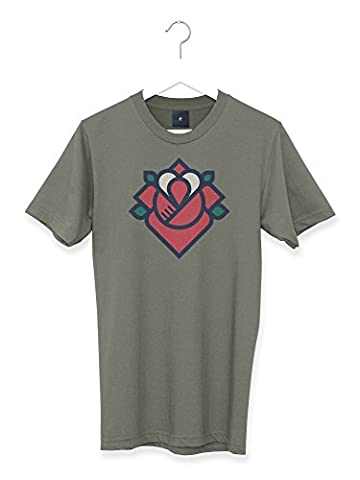 Rose Graphic Retro Tattoo Style Mens T Shirt (XL)