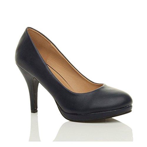 Médio Azul Senhoras Calcanhar De Mate Tamanho Elegantes Bombas alto Plataforma Noite Básica Sapatos Partido Marinha 1q6qw5