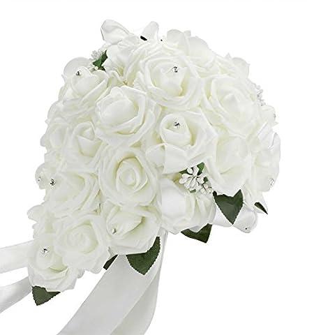 Vlovelife White Wedding Bouquet Bridal Bridesmaid Artificial Foam Rose Flower Handmade Posy Pearl Rhinestone Plant Leaf Vine Satin Ribbon Decor