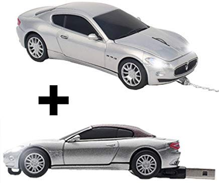 Maserati Bundle - Maserati Gran Turismo Optische Computermaus mit Kabel und Maserati Gran Cabrio USB-Stick Wired + 4GB -